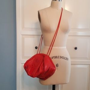 Vintage 3-D Red Leather Cross Body Bag 80's
